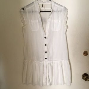 Free People tank blouse tunic white cap sleeve S